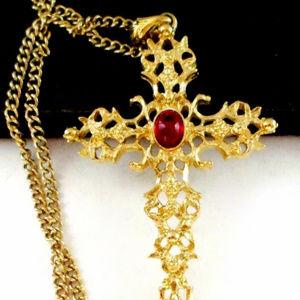 large vintage gold filigree red cab cross necklace